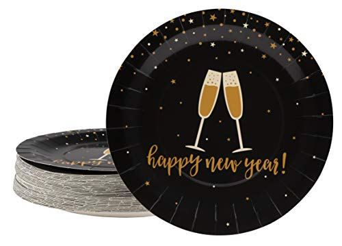 Disposable Plates - 80-Count Paper Plates, New Year Holiday Party Supplies for Appetizer, Lunch, Dinner, Dessert, Champagne Toast in Black and Gold Design, 9 Inches Diameter