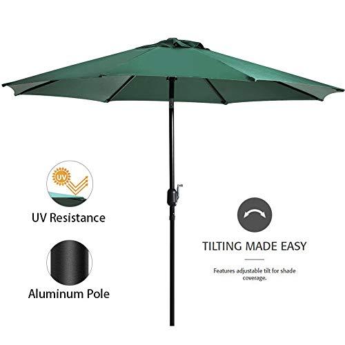 - Snail 9 feet. Aluminum Patio Umbrella Sun ray Protection Outdoor Table Market Umbrella with Push Button Tilt/Crank Lift