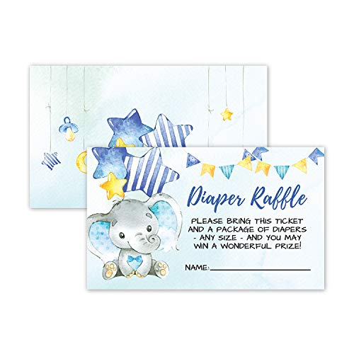 50 Double Sided Elephant Diaper Raffle Ticket Insert Cards for Boy Baby Shower Invitations or Gender Reveal Invites Party Games Activities Decorations Supplies Bring a Pack of Diapers to Win a Prize