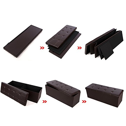 Songmics 43 Quot Faux Leather Folding Storage Ottoman Bench
