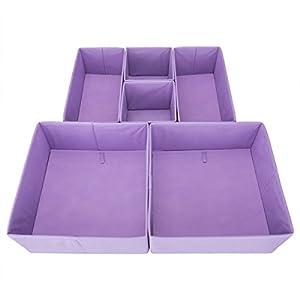 Drawer Organizer U2013 ONu0027H Fabric Storage Cubes Foldable Cloth Dresser Drawer  Dividers Bins   6 Pack   Purple