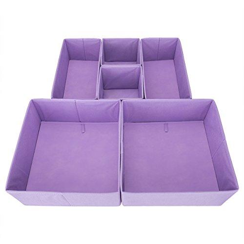 Drawer Organizer – ON'H Fabric Storage Cubes Foldable Cloth Dresser Drawer Dividers Bins - 6 Pack - Purple