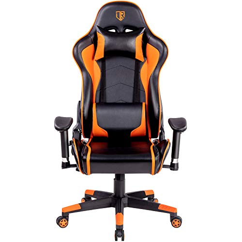 OUTROAD Gaming Chair Office Computer Desk Chair Ergonomic Backrest and Seat Height Adjustment Recliner Swivel Rocker with Headrest and Lumbar Pillow E-Sports Chair Black and Orange Uncategorized