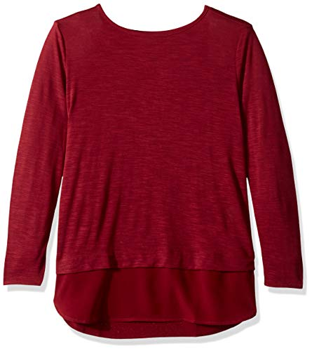 (J.Crew Mercantile Women's Woven Hem T-Shirt, Windsor Burgundy XXL)