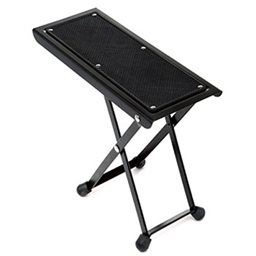 Guitar Ukulele Sturdy Non-Slip Foot Stool Footrest 4 Step Adjustable Portable iron black, by LC Prime
