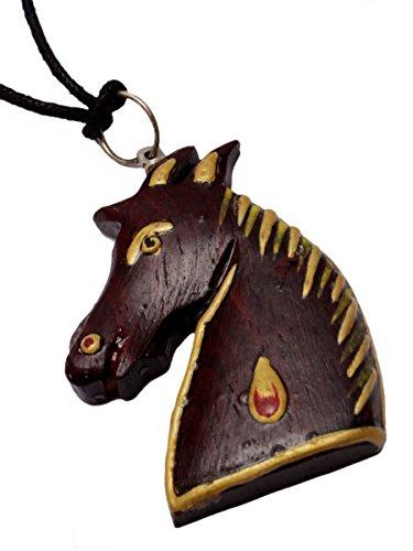 A Wood Boho Hippie Horse Design Wooden Pendant Necklace P_1200 (Hippie Horse Costume)