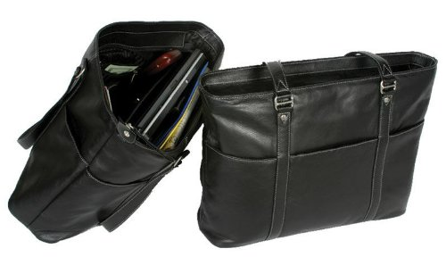 Winn Lightweight Leather Ladies Tote & Computer Bag w/Silver Contrasting Stitching by Winn