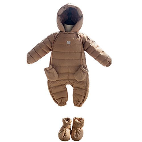 (Bebone Newborn Baby Hooded Winter Puffer Snowsuit with Shoes and Gloves (Coffee,9-12M) )