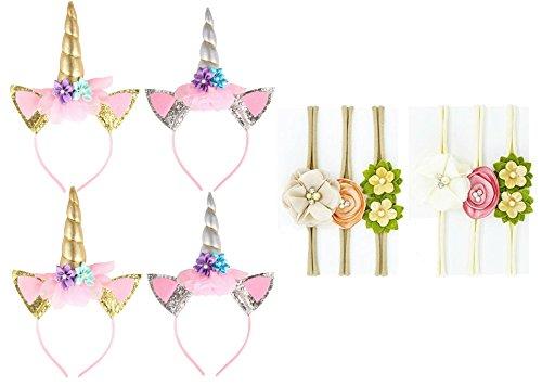 10Pack Headbands,4Pcs Unicorn Headbands and Crystal Pearls Flower Headband Soft Elastic Nylon HairBand Hair Ties for Girls Cosplay Costume, Christmas Party (StyleB)