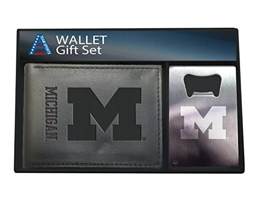 Team Sports America University of Michigan Men's Bi-fold Wallet and Keychain Gift Set (Mens Michigan Ring)