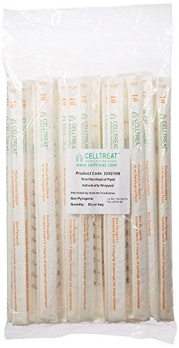Celltreat 229210B Serological Pipet, 10mL Capacity, Sterile, Individually Wrapped/Bag (Case of 200)
