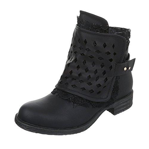 Ital-Design Western- & Bikerboots Damenschuhe Biker Boots Blockabsatz Blockabsatz Reißverschluss Stiefeletten Schwarz