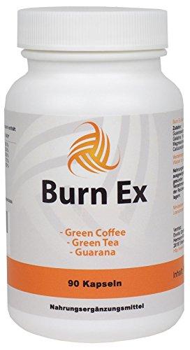 Burn Ex, Grüner Kaffee Extrakt, 90 Kapseln in Premiumqualität, 1800 mg grüne Kaffeebohnen + Grüner Tee + Guarana, 100% natürlich, 1er Pack (1x 79g)