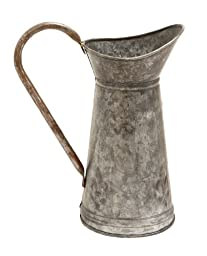 Plutus Brands Galvanized Watering Jug with a Slender Wide Handle