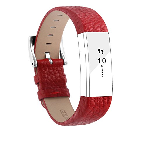 POY Replacement Bands Compatible for Fitbit Alta and Fitbit Alta HR, Genuine Leather Wristbands, Red