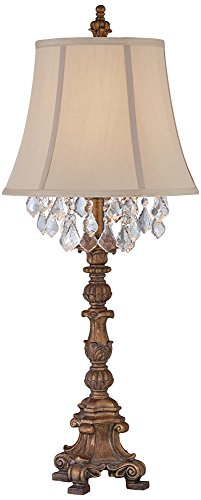 Duval Gold Crystal Candlestick Table Lamp For Sale