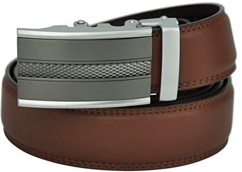 Hampton Men's Leather Belt with Innovative Contempo Magnum Ratchet Belt Buckle - One Size Fit, Saddle Tan
