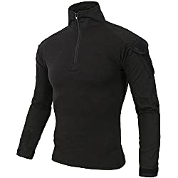 DXdesign Tactical 1/4 Zip Combat Long Sleeve T-Shirt Multicam Slim Fit Hunting Military Uniform Dry Quick (Medium, Black)
