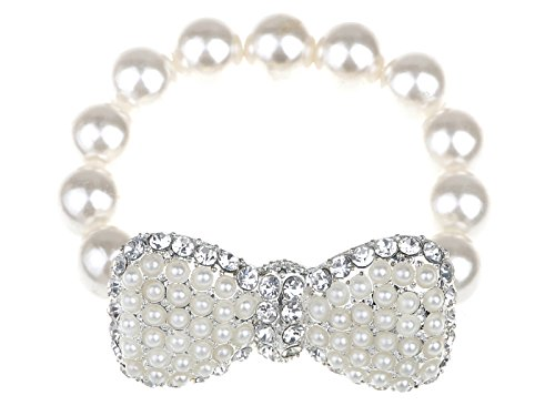 Alilang Retro Hollywood Faux Pearl Glam Ribbon Bow Crystal Rhinestone Adjustable Stretch Bracelet