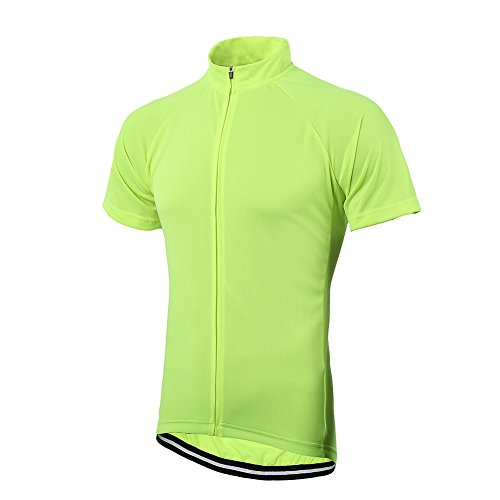 (sportwin Slim Men's Reflective Bicycle Cycling Biking Climbing Short Sleeves Solid Color Cycle Jersey with Pockets Quick Dry Breathable Fabric )