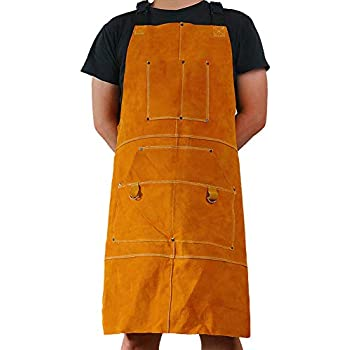 Leather Welder Apron Blacksmith Apron, Heavy Duty Flame Retardant Welding Work Apron, Unisex Adjustable Work Shop Protective Clothing, Carpentry, ...