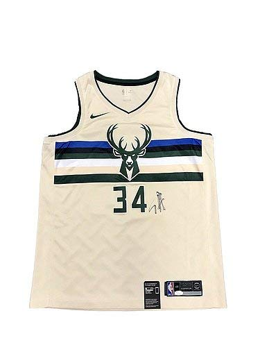 san francisco 688dd 21888 Giannis Antetokounmpo Milwaukee Bucks City Signed Nike ...