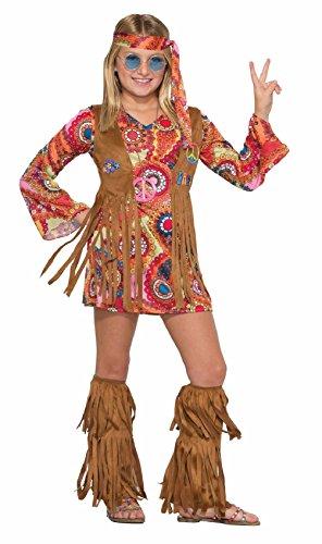 That 70s Girl Costumes (Peace Lovin' Hippie Child Girl's Halloween Costume 1970s Flower Power SM-MD-LG)