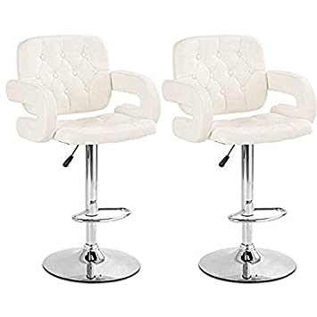 COSTWAY Bar Stools, Swivel PU Leather Barstools with Armrest Adjustable Hydraulic Pub Stools for Bistro Home Pub, Bar Stools Set of 2 White