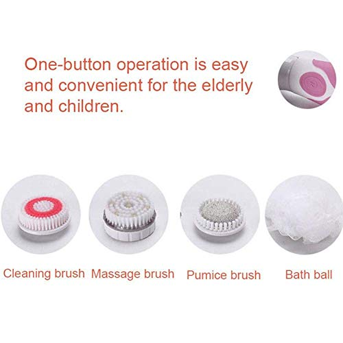 4 In 1 Electric Shower Brush, Waterproof Long Handle SPA Massage Scrubber Exfoliation Body Brush Kit, Perfect for Relaxing Muscles, Relieves Tension And Fatigue (Pink) by BESTHINKY (Image #4)