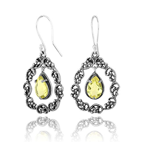 PZ Paz Creations 925 Sterling Silver Lace Teardrop Gemstone Dangle Earrings -