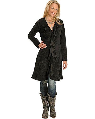 Knee Length Leather Coat - 3