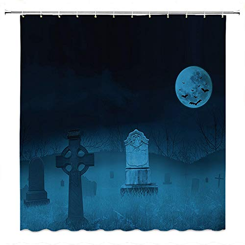 SATVSHOP Fabric Bathroom Set with Hooks-Be Awesome Quote with 12 Hooks-Gothic Ghostly Graveyard Illustration Horror Halloween Dead Danger Theme Full Moon and Bat Mystery Art Blue.W54 x L72 inch ()