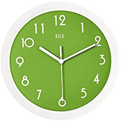 HITO Modern Colorful Silent Non-ticking Wall Clock- 10 Inches (Apple Green)