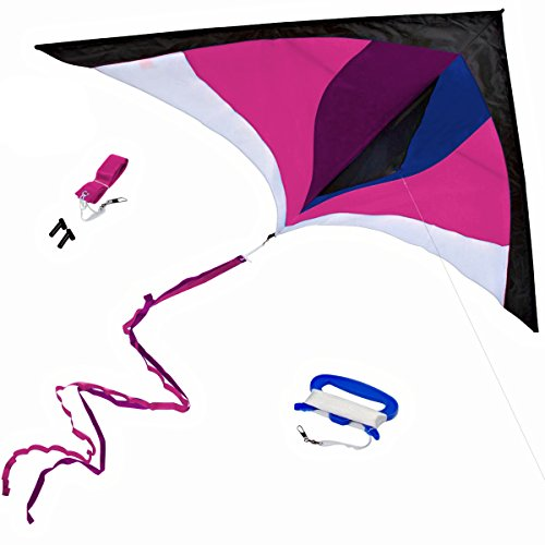 Best Delta Kite, Easy Fly for Kids and Beginners, Single Line w/Tail Ribbons, Stunning Pink, Purple & Blue, Materials, Large, Meticulous Design and Testing + Guarantee + Bonuses!