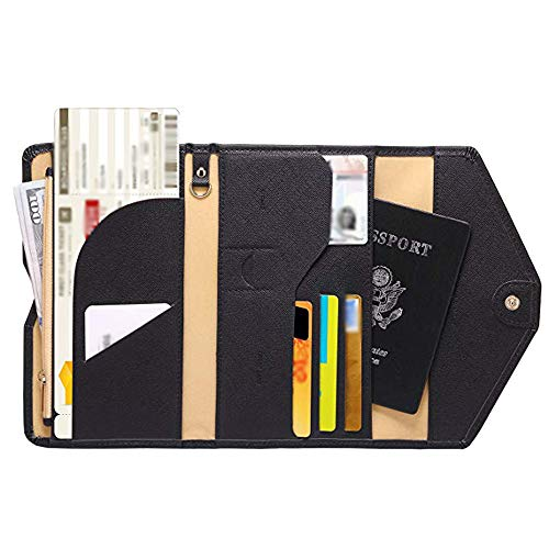 Outsta Passport Wallet Multi-Purpose Travel Passport Wallet Tri-fold Document Organizer Holder Men Women (Black)