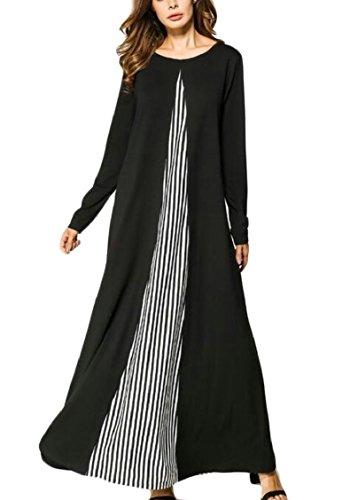 Dubai Long Women Jalabiya Maxi Dress Stripe Jaycargogo Muslims Casual Kaftan Black YwxHO