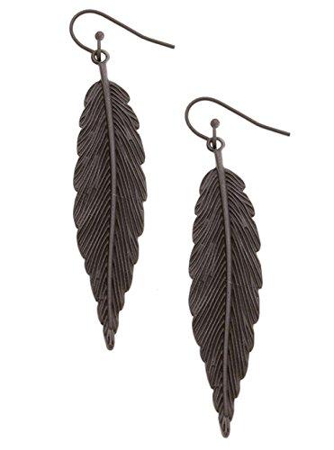 """Extra Long Matte Black Finish Textured Leaf Dangle Drop Earrings, 2 3/4"""" (Matte Black Leaf)"""