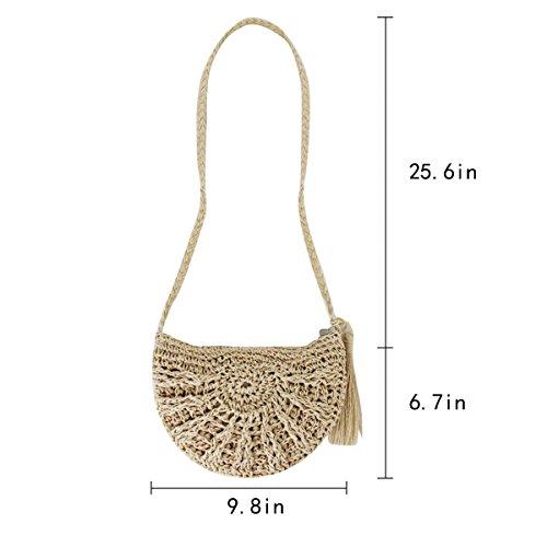 Bag Tassels Shoulder Beach Girl Bag Straw Crossbody Rebecca Women Vacation Woven Beige Crochet Envelope Handbag xXSYgH