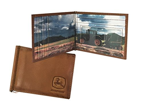 John Deere Western Wallet Mens Front Pocket Money Clip Tan 4080000