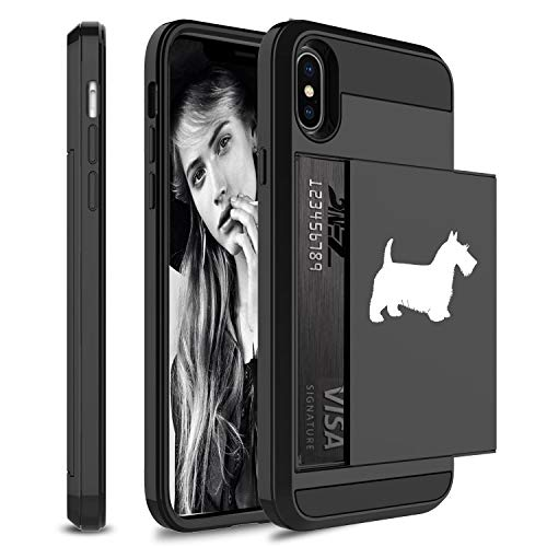 Wallet Credit Card ID Holder Shockproof Protective Hard Case Cover for Apple iPhone Scottie Scottish Terrier (Black, for Apple iPhone - Scottish Iphone Terrier