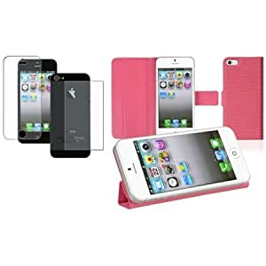 Viesrod CommonByte For iPhone 5 Leather w/ Stand Pink Cover Case Skin+2x Anti-Glare Protector