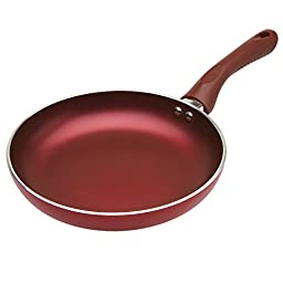 """Ecolution Evolve Heavy-Gauge Aluminum with a Soft Silicone Handle  Dishwasher Safe Non-Stick Fry Pan, Crimson Red – 11"""" Diameter"""