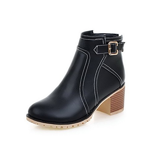 AmoonyFashion Women's Zipper Kitten-Heels Pu Solid Low Top Boots, Black, 37 by AmoonyFashion