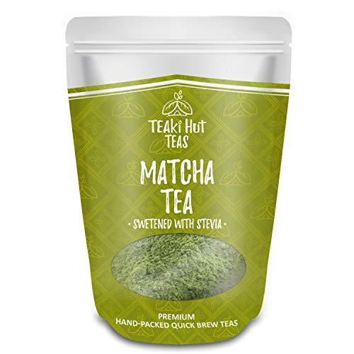 TEAki Hut Matcha Green Tea Powder Sweetened With Stevia | No Sugar or Carbs Added | Sweet Matcha Latte Mix | Culinary Grade | Frappe Smoothie Blend | 4 oz / 100 servings