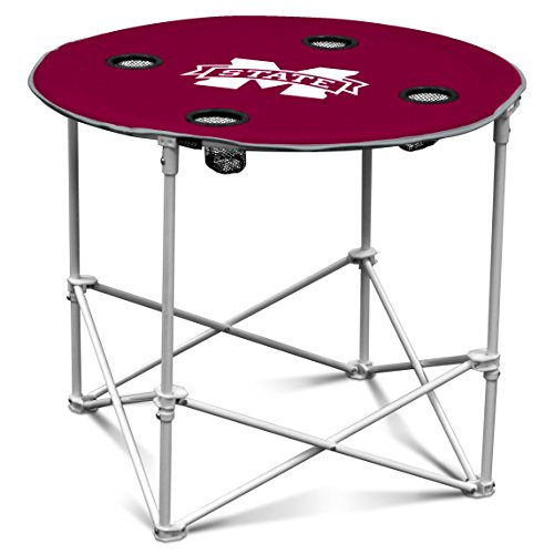 Mississippi State Bulldogs Collapsible Round Table with 4 Cup Holders and Carry Bag