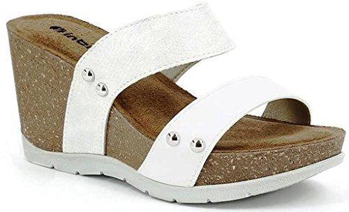 INBLU - Sandalias de vestir de piel sintética para mujer blanco Bianco 36