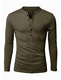 uxcell® Men Split Neck Long Sleeves Button Upper Casual Tops
