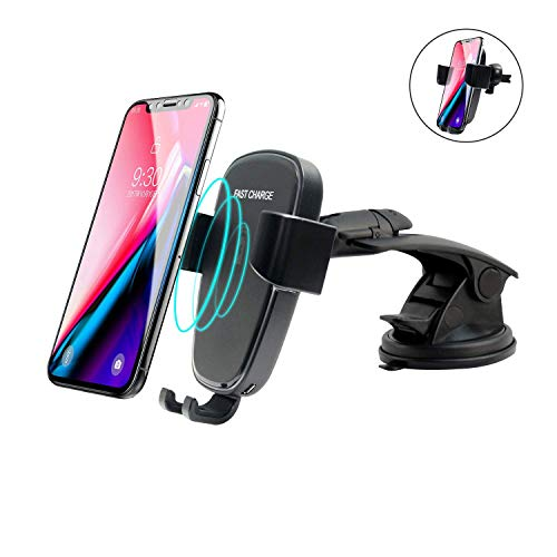 Wireless Car Charger Mount for iPhone X 8 Plus,10W Fast Wireless Charging for Samsung Galaxy S9 Plus,S9,Note 8,S8,S8 Plus,S7,S7 Edge,S6 Edge+,Note 5(Black)