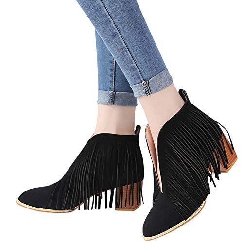 Outtop(TM) Women's Suede Tassel Martain Boots Ladies Fashion Ankle Solid Fringe Short Booties Shoes (US:9.5, Black) (Select Footwear Black Suede)