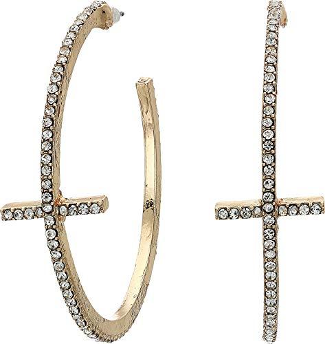 Cross Design Hoop - Steve Madden Women's Rhinestone Cross Design Yellow Gold-Tone Open Hoop Post Earrings, One Size
